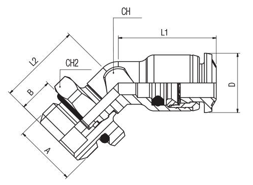 L 45 kovova spojka so zavitom 45° ORIENTING ELBOW MALE ADAPTOR (PARALLEL)